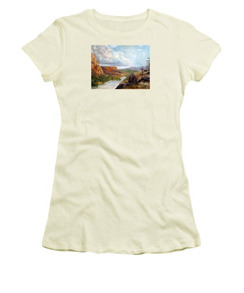 Women's T-Shirt (Junior Cut) featuring the painting Western River Canyon by Lee Piper