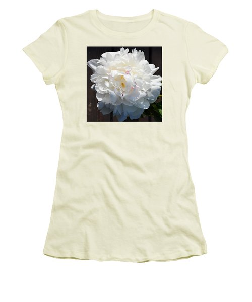 White Peony Women's T-Shirt (Athletic Fit)