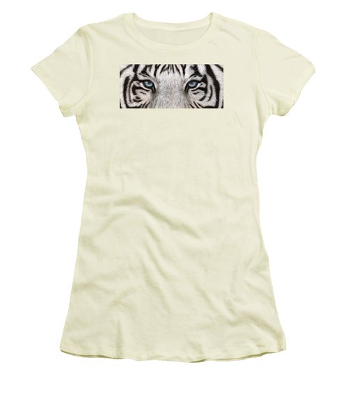 White Tiger Eyes Painting Women's T-Shirt (Athletic Fit)