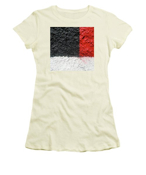 White Versus Black Over Red Women's T-Shirt (Junior Cut) by CML Brown