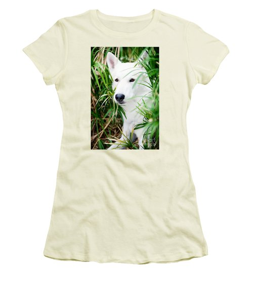 Women's T-Shirt (Junior Cut) featuring the photograph White Wolf by Erika Weber