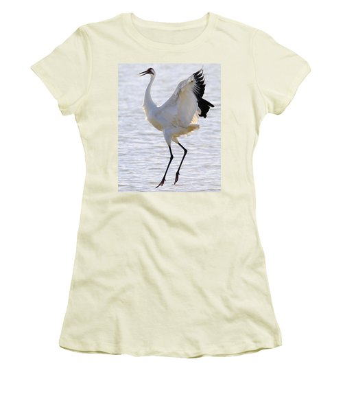 Whooping Crane - Whooping It Up Women's T-Shirt (Junior Cut) by Tony Beck