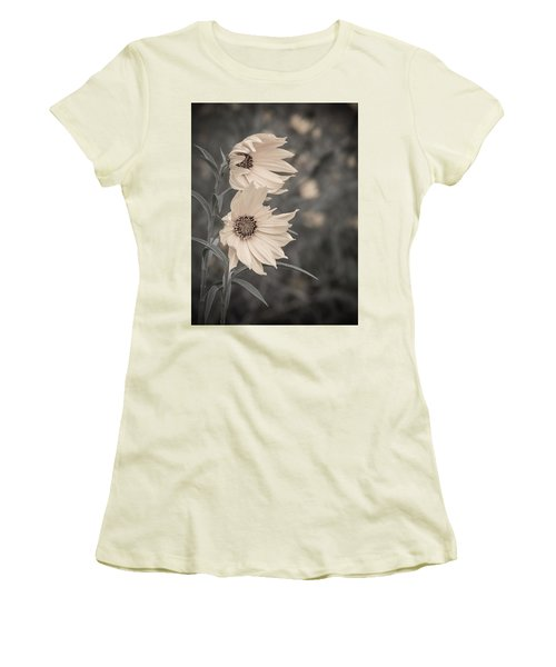 Women's T-Shirt (Junior Cut) featuring the photograph Windblown Wild Sunflowers by Patti Deters