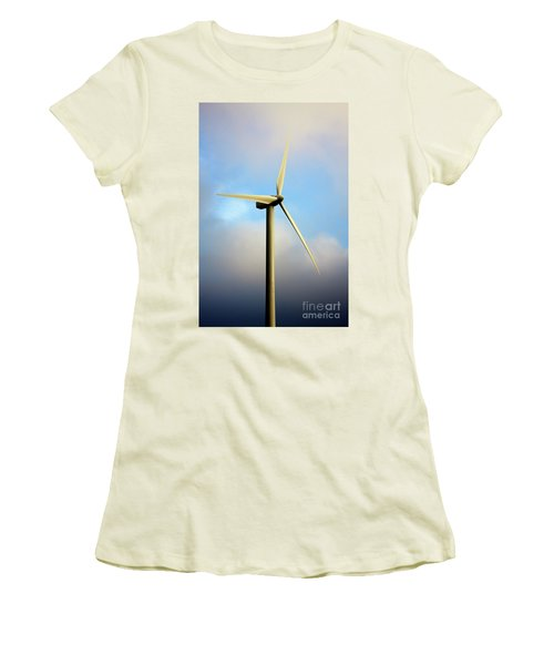 Windmill Dark Blue Sky Women's T-Shirt (Athletic Fit)