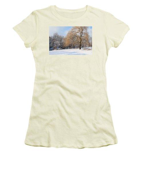 Winter Along The River Women's T-Shirt (Junior Cut) by Nina Silver