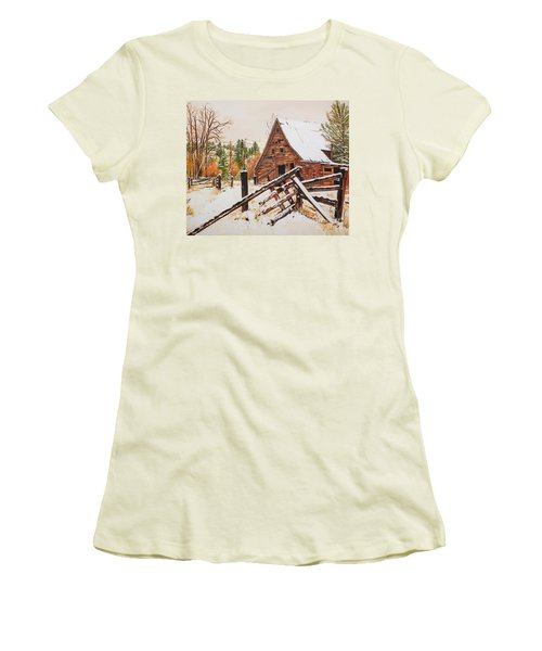 Winter - Barn - Snow In Nevada Women's T-Shirt (Athletic Fit)