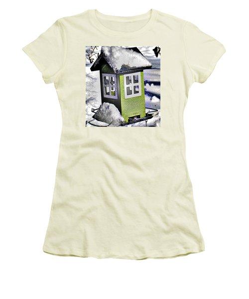Women's T-Shirt (Junior Cut) featuring the photograph Winter Birdfeeder by Nina Silver