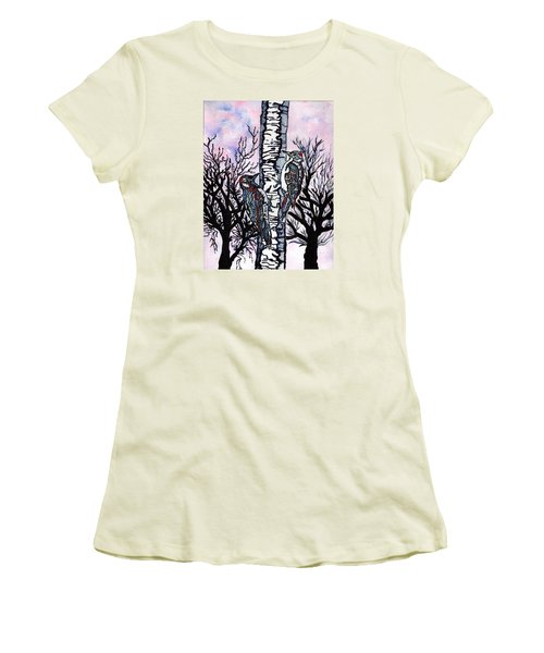 Winter In The Country Women's T-Shirt (Junior Cut) by Connie Valasco