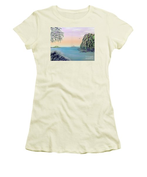 Winter On Lake Ponchartrain Women's T-Shirt (Athletic Fit)