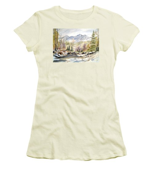 Winter On The River Women's T-Shirt (Junior Cut) by Dorothy Maier