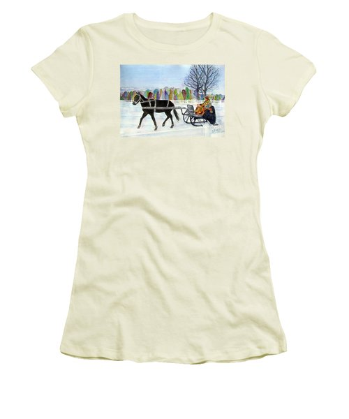 Women's T-Shirt (Junior Cut) featuring the painting Winter Sleigh Ride by Carol Flagg