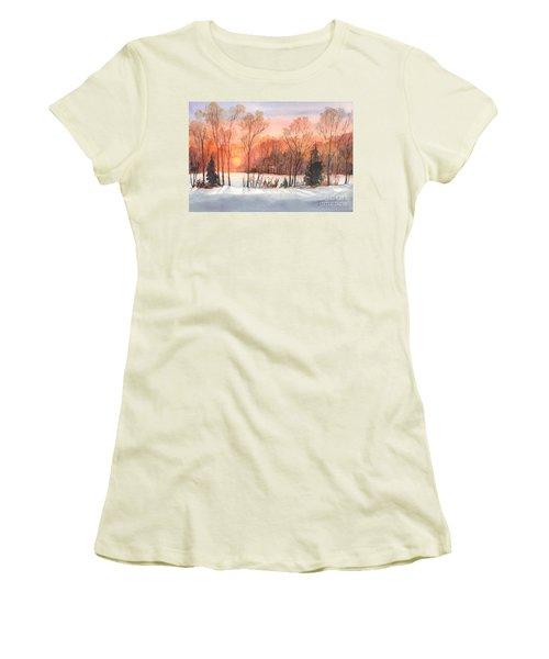 A Hedgerow Sunset Women's T-Shirt (Junior Cut) by Carol Wisniewski