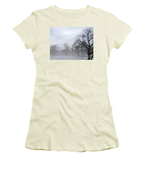 Women's T-Shirt (Junior Cut) featuring the photograph Winter Trees With Mist by Jeannie Rhode