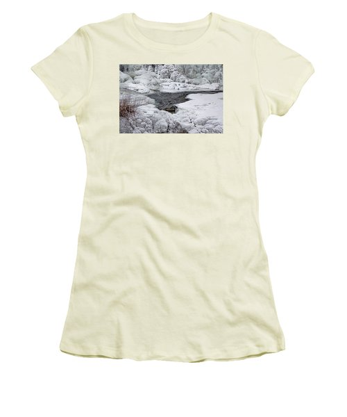 Women's T-Shirt (Junior Cut) featuring the photograph Vermillion Falls Winter Wonderland by Patti Deters