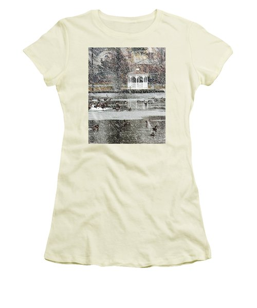 Wintering Geese On Silver Lake Women's T-Shirt (Athletic Fit)