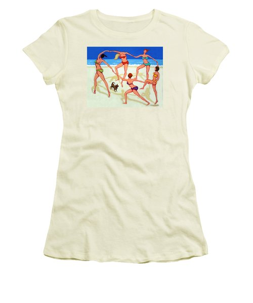 Women Dancing On Beach - Happy Dance Women's T-Shirt (Junior Cut) by Rebecca Korpita