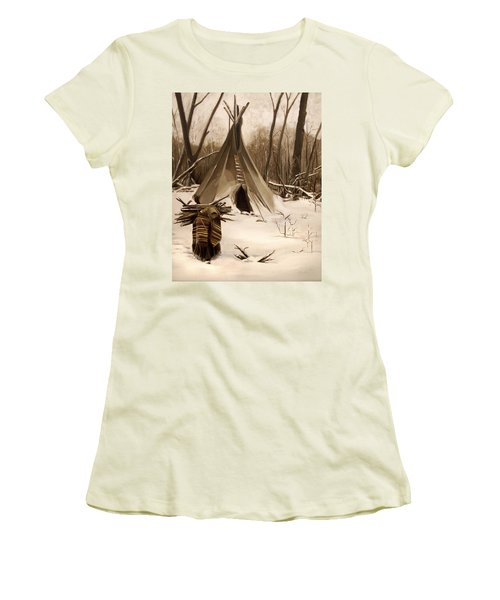 Wood Gatherer Women's T-Shirt (Junior Cut) by Nancy Griswold