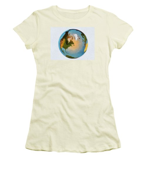 World 3d Globe Women's T-Shirt (Athletic Fit)