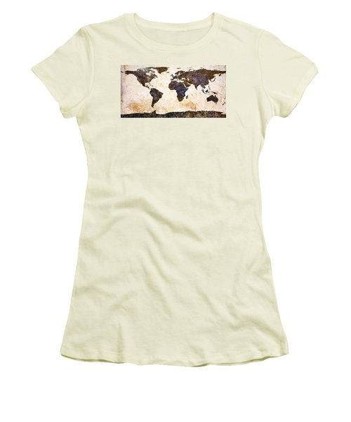 World Map Abstract Women's T-Shirt (Athletic Fit)