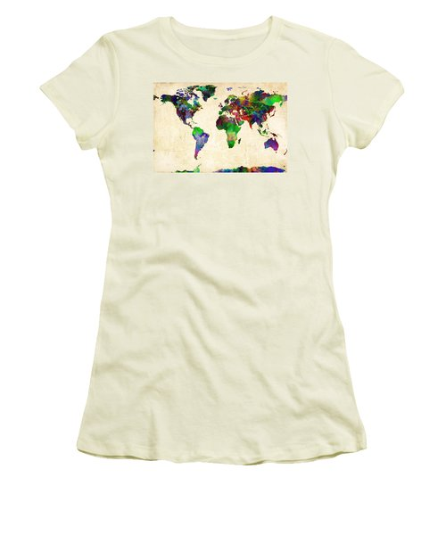 World Map Watercolor Women's T-Shirt (Athletic Fit)