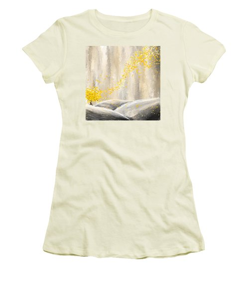 Yellow And Gray Landscape Women's T-Shirt (Athletic Fit)