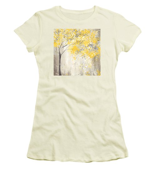 Yellow And Gray Tree Women's T-Shirt (Junior Cut) by Lourry Legarde
