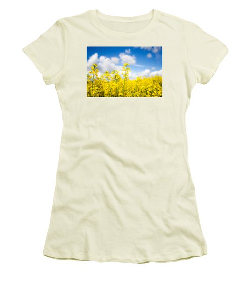 Yellow Mustard Field Women's T-Shirt (Athletic Fit)
