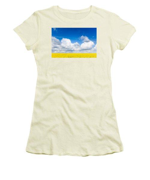 Yellow Mustard Fields Under A Deep Blue Sky Women's T-Shirt (Athletic Fit)