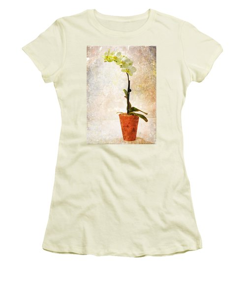 Yellow Orchid Women's T-Shirt (Junior Cut) by Patti Deters