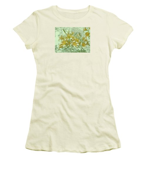 Women's T-Shirt (Junior Cut) featuring the photograph Yellow Stargazers On Soft Green by Tom Wurl