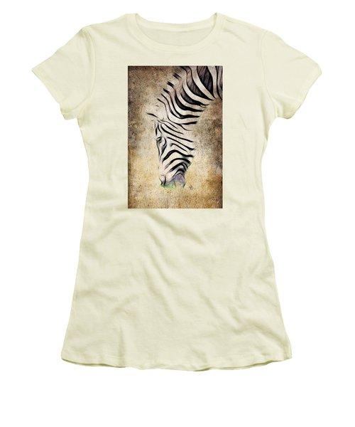 Zebra Fade Women's T-Shirt (Junior Cut) by Steve McKinzie