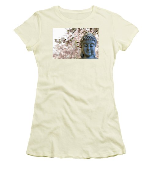 Zen Buddha Meditating Under Cherry Blossom Trees Women's T-Shirt (Athletic Fit)