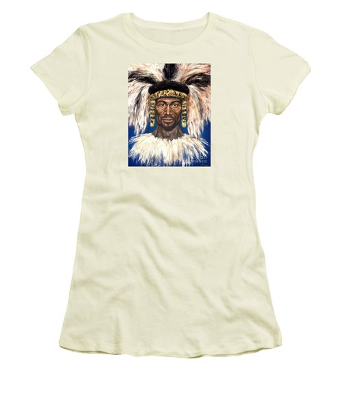 Women's T-Shirt (Junior Cut) featuring the painting Zulu Warrior by Arturas Slapsys