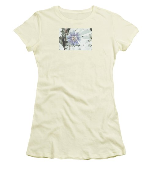 Passion Flower On White Women's T-Shirt (Junior Cut) by Tom Wurl