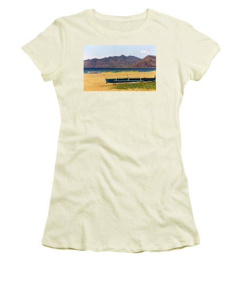 Boats On South China Sea Beach Women's T-Shirt (Junior Cut) by Amelia Racca