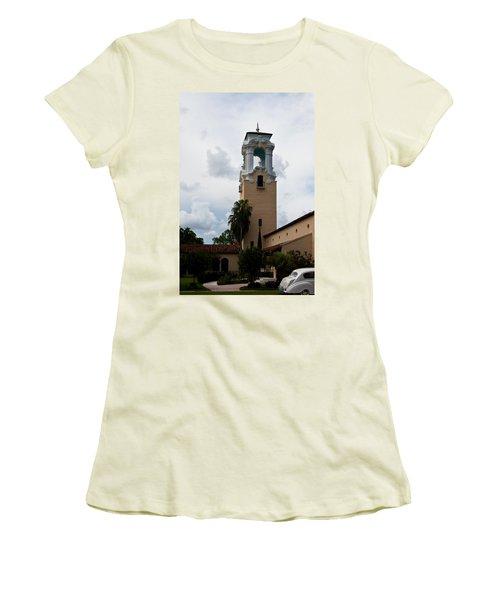 Women's T-Shirt (Junior Cut) featuring the photograph Congregational Church Tower by Ed Gleichman