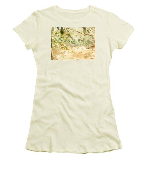 Women's T-Shirt (Junior Cut) featuring the painting The Breeze Between by Daun Soden-Greene