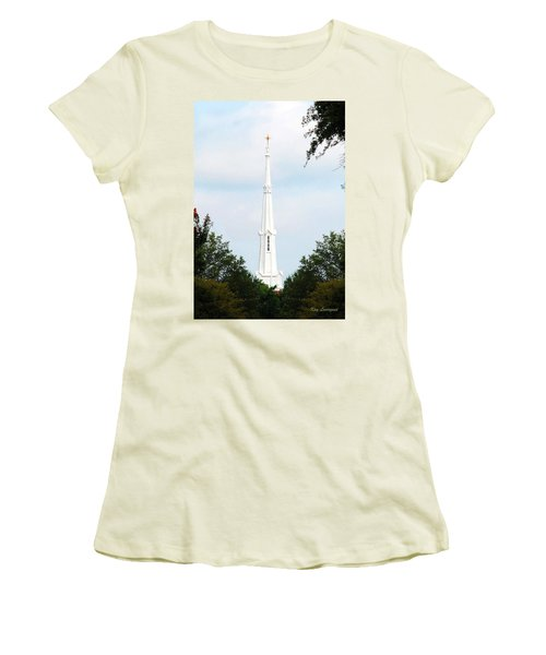 1st Christian Steeple Women's T-Shirt (Junior Cut) by Kay Lovingood