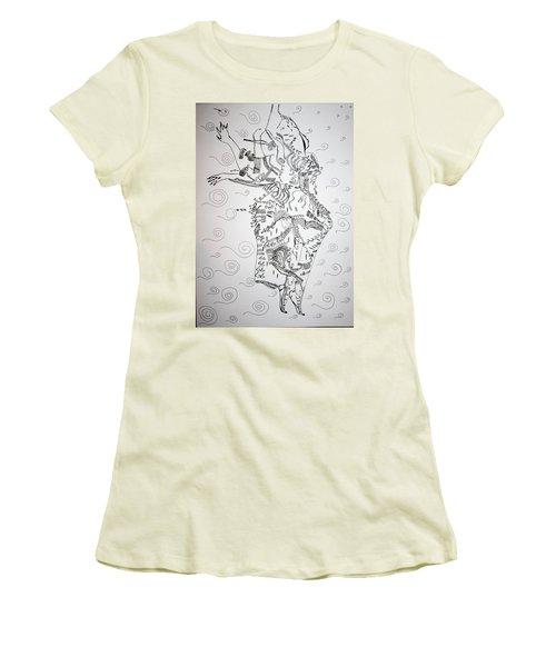 Women's T-Shirt (Junior Cut) featuring the drawing Kiganda Dance - Uganda by Gloria Ssali