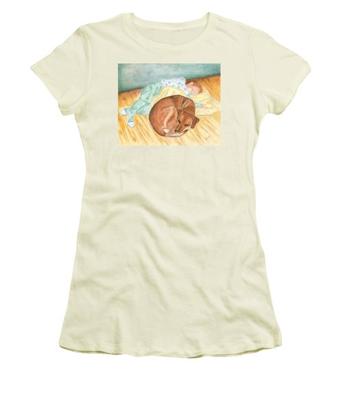 A Dog And Her Boy Women's T-Shirt (Athletic Fit)