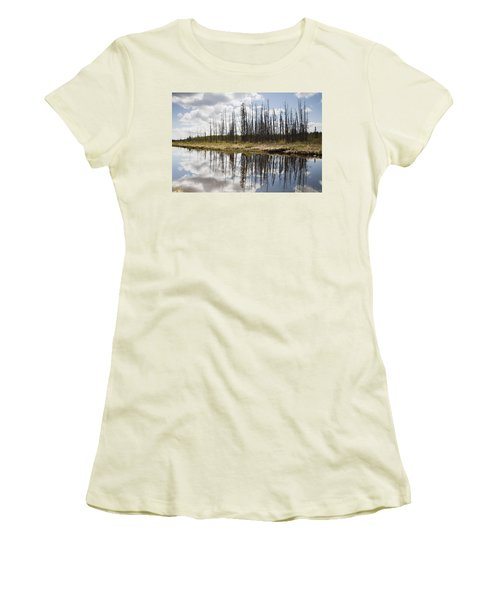 Women's T-Shirt (Junior Cut) featuring the photograph A Tranquil River With A Reflection by Susan Dykstra