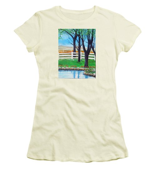 Women's T-Shirt (Junior Cut) featuring the painting Along The Lane by Dan Whittemore
