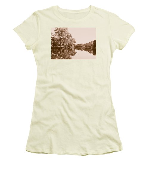 Women's T-Shirt (Junior Cut) featuring the photograph Amber Reflection by Sara Frank