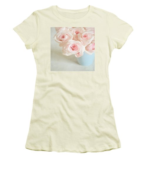 Baby Pink Roses Women's T-Shirt (Junior Cut) by Lyn Randle