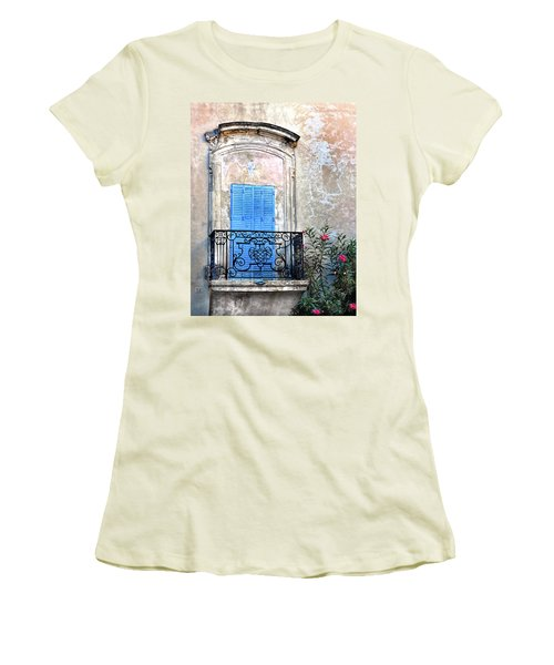 Women's T-Shirt (Junior Cut) featuring the photograph Balcony Provence France by Dave Mills