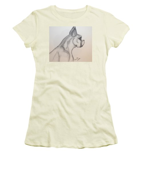 Women's T-Shirt (Junior Cut) featuring the drawing Big Boxer by Maria Urso
