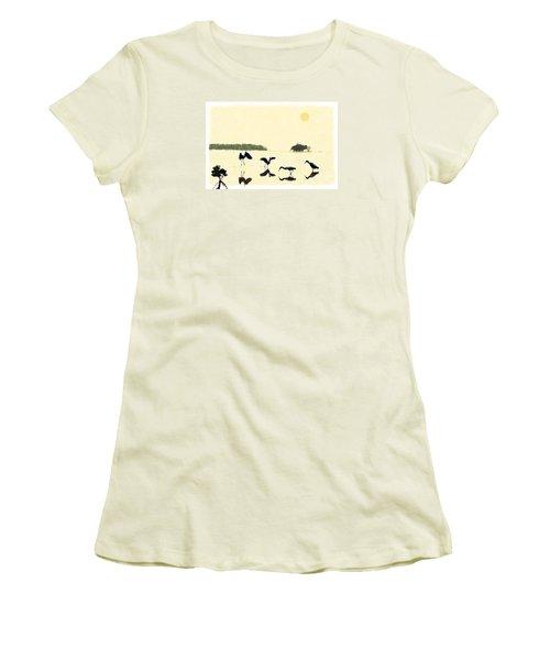 Women's T-Shirt (Junior Cut) featuring the photograph birds feeding in the Everglades by Dan Friend