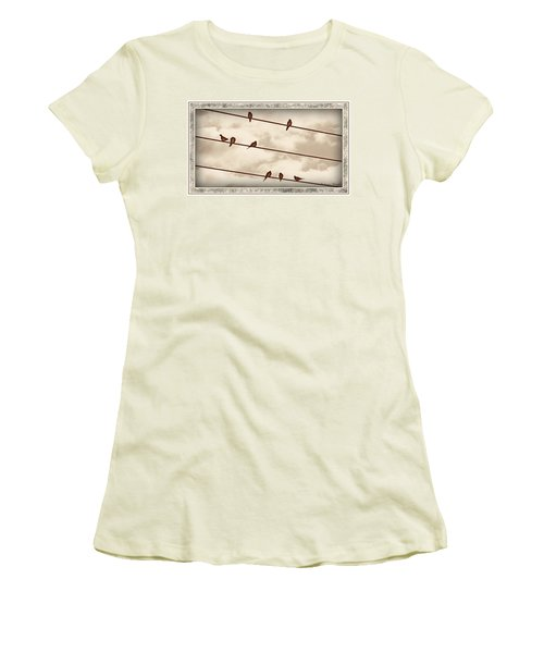 Birds On Wires Women's T-Shirt (Athletic Fit)