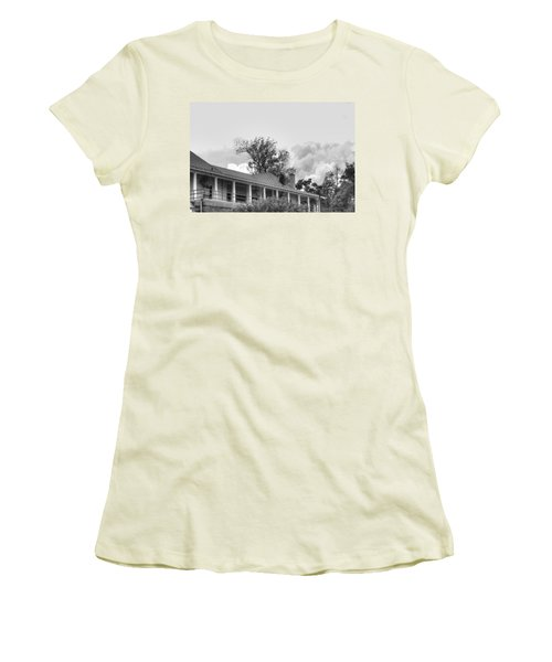 Women's T-Shirt (Junior Cut) featuring the photograph Black And White Delaware Casino by Michael Frank Jr
