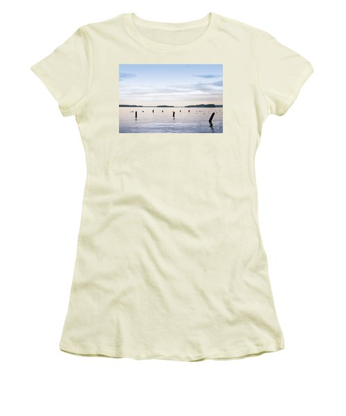 Women's T-Shirt (Junior Cut) featuring the photograph Blue Lake Muskoka by Les Palenik